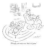 Dog throwing ball to master who has thrown it for the dog. - New Yorker Cartoon-Arnie Levin-Premium Giclee Print
