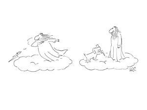 Greek God throwing Lightning bolts, his dog brings them back. - New Yorker Cartoon by Arnie Levin