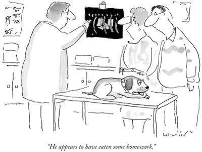 """He appears to have eaten some homework."" - New Yorker Cartoon by Arnie Levin"