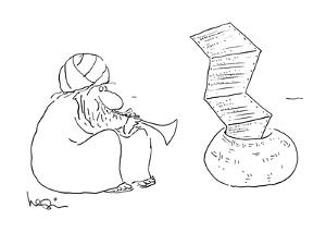 Indian snake charmer's playing causes fax paper to rise up in the air. - New Yorker Cartoon by Arnie Levin