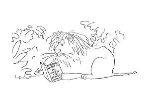 Lion sits in the jungle and reads a book entitled 'What to Do Until the Mo? - Cartoon by Arnie Levin