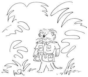 Lion wearing a safari jacket in jungle. - New Yorker Cartoon by Arnie Levin
