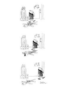 Man walks over tiger rug and steps on its tale. Tiger's mouth opens, eyes ? - New Yorker Cartoon by Arnie Levin
