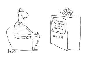 """Man watching television which says """"Thank you for watching regular televis? - New Yorker Cartoon by Arnie Levin"""