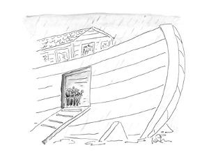 Noah's ark with an umbrella stand in entrance. - New Yorker Cartoon by Arnie Levin