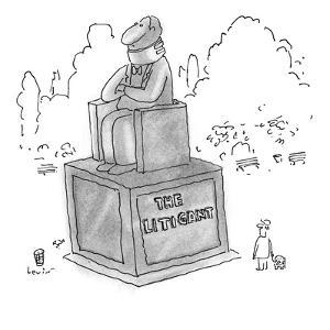 """Park statue of a man sitting in a chair, wearing a neck brace.  The inscri?"""" - New Yorker Cartoon by Arnie Levin"""