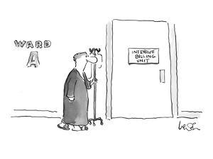 Patient with I.V. drip walking down the hall to a door marked 'Intensive B? - New Yorker Cartoon by Arnie Levin