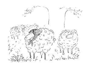 Sheep in pasture with curlers in her hair. - New Yorker Cartoon by Arnie Levin