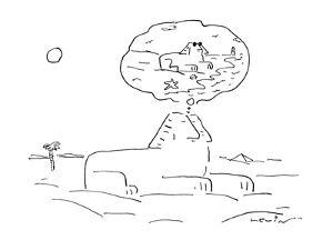 Sphinx sits and sleeps while he dreams of being on vacation at a beach; in? - Cartoon by Arnie Levin