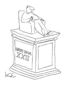 Statue of man sitting in an armchiar with beer and a cigarette with the in? - New Yorker Cartoon by Arnie Levin