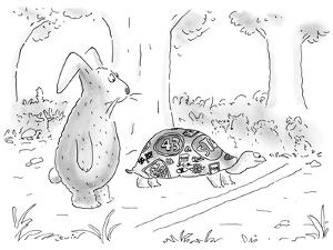 The mythical tortoise and the hare at the starting line; the tortoise has … - New Yorker Cartoon by Arnie Levin