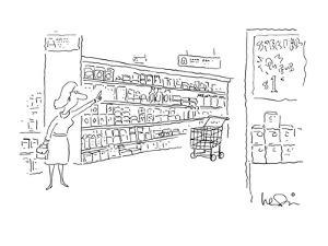 Woman hails empty shopping cart in aisle of supermarket as if it were a ta? - New Yorker Cartoon by Arnie Levin
