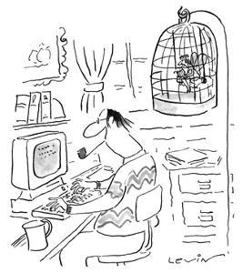 Writer's muse is trapped in bird cage as he works at computer. - New Yorker Cartoon by Arnie Levin