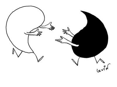Yin and Yang symbols run toward each other with arms extended. - New Yorker Cartoon
