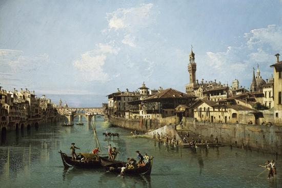 Arno River and Ponte Vecchio in Florence, 1742-Bernardo Bellotto-Premium Giclee Print