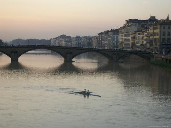 Arno River and Rowers, Florence, Italy-Brimberg & Coulson-Photographic Print