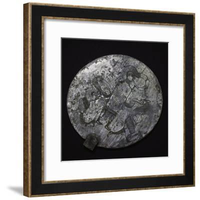 Arnoaldi Mirror with Figure of Warrior Wearing Crested Helmet--Framed Giclee Print