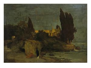 Villa by the Sea (First Version), about 1864 by Arnold Bocklin