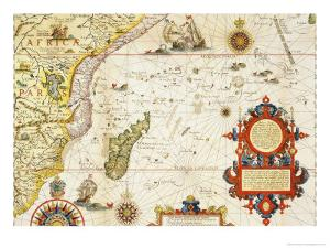 Map of East Africa and Madagascar, 1596 by Arnold Florent Van Langren