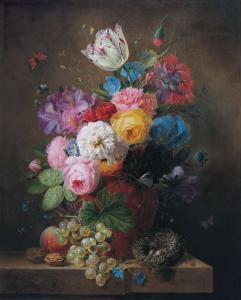 Rich Still Life of Roses by Arnoldus Bloemers
