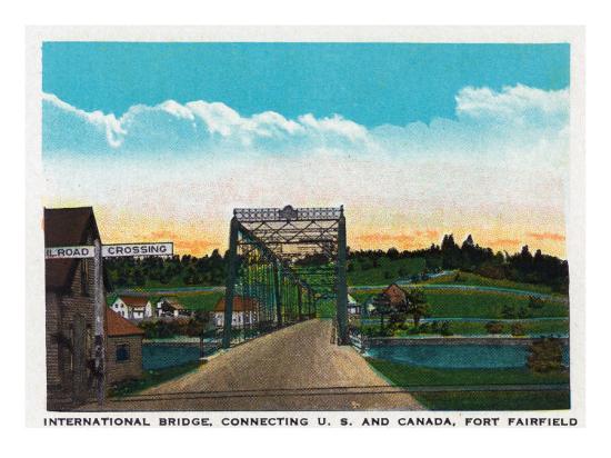 Aroostook County, Maine, Fort Fairfield View of Internat'l Bridge to Canada-Lantern Press-Art Print