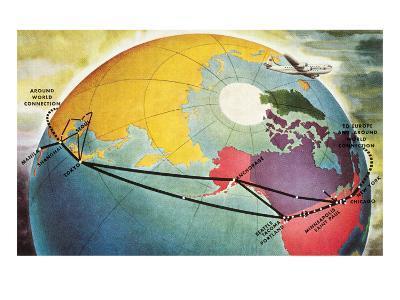 Around World Connection, Plane and Globe--Art Print