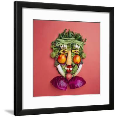 Arranged Vegetables Creating a Face-DLILLC-Framed Photographic Print