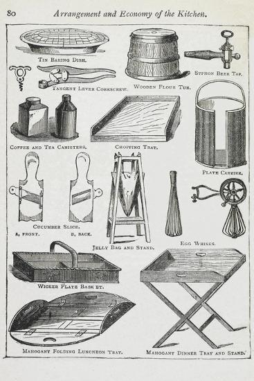 Arrangement and Economy Of the Kitchen. Various Kitchen Utensils-Isabella Beeton-Giclee Print