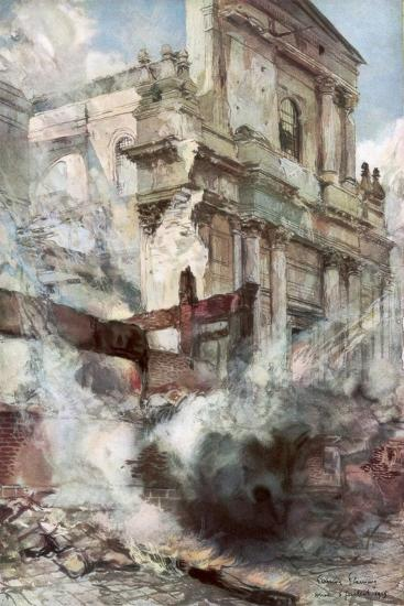 Arras Cathedral on Fire, France, July 1915-Francois Flameng-Giclee Print