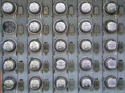 Array of Electric Power Meters at a Boat Dock-Greg Dale-Photographic Print