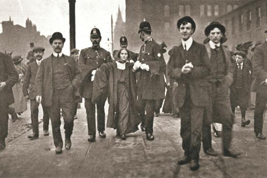 Arrest of Dora Marsden, British suffragette, outside the Victoria University of Manchester, 1909-Unknown-Photographic Print