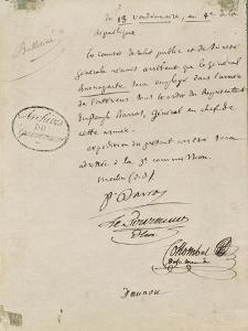 Arrêté du 13 Vendémiaire An IV nommant Bonaparte à l'armée de l'intérieur