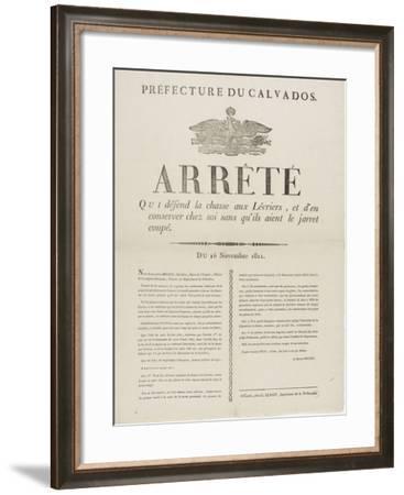 Arrêté qui défend la chasse aux lévriers--Framed Giclee Print
