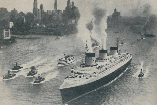 'Arrival at New York of the Normandie', 1936-Unknown-Photographic Print
