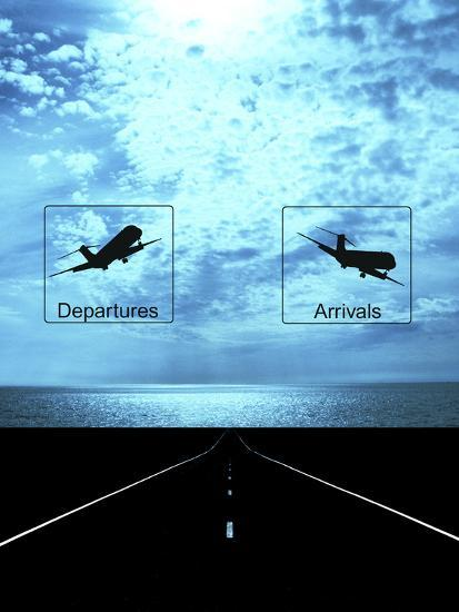 Arrival, Departure Signs and Runway--Photographic Print