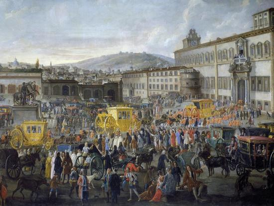Arrival of Ambassador of Venice, Nicholas Duodo at Quirinale Palace, 1714, Detail, Italy--Giclee Print