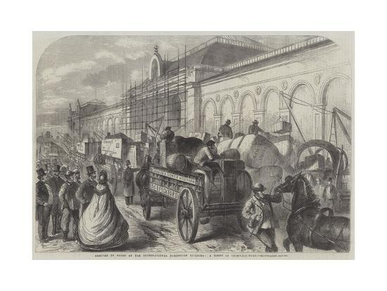Arrival of Goods at the International Exhibition Building, a Scene in Cromwell-Road--Giclee Print