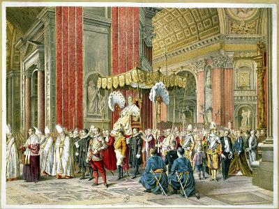 Arrival of Pope Pius IX on the Sedia Gestatoria at the Opening of the First Vatican Council--Giclee Print