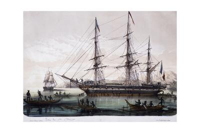 Arrival of Ships Astrolabe and Zelee at Nuku Hiva Island--Giclee Print