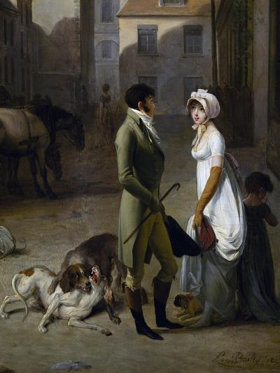 Arrival of Stagecoach in Courtyard of Messageries-Louis Leopold Boilly-Giclee Print