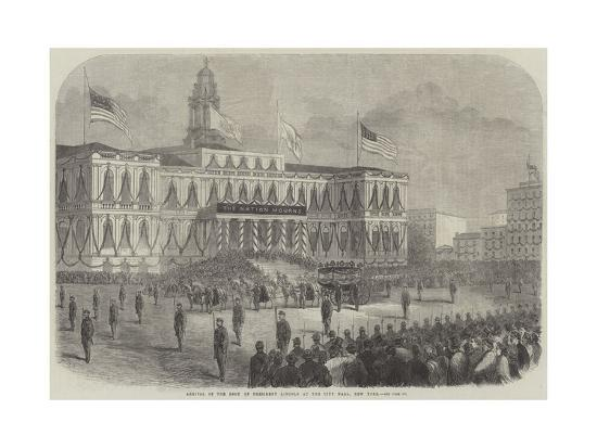 Arrival of the Body of President Lincoln at the City Hall, New York--Giclee Print