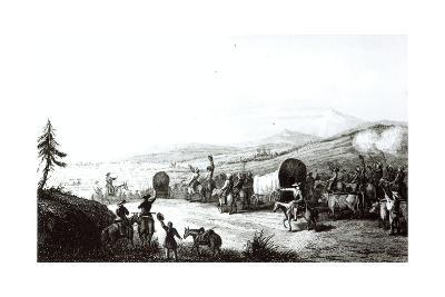 Arrival of the Caravan at Sante Fe, Engraved by A. L. Dick-E. Didier-Giclee Print