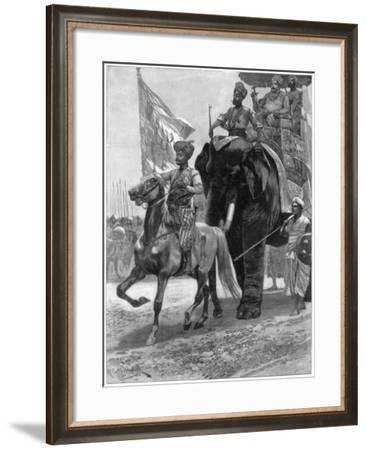 Arrival of the Nawab Siraj Ud Daulah before Clive's Position, India, 1757-Richard Caton Woodville II-Framed Giclee Print