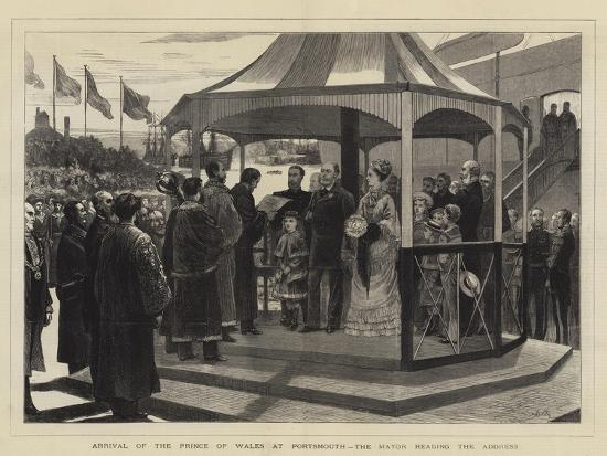 Arrival of the Prince of Wales at Portsmouth, the Mayor Reading the Address--Giclee Print