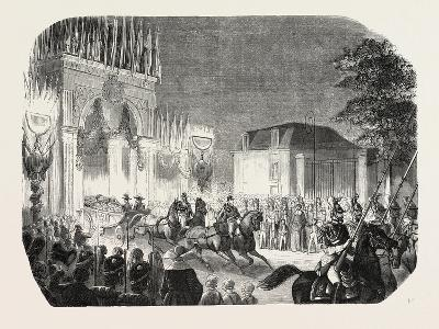 Arrival of the Queen of England at the Castle of Saint-Cloud, France. Queen Victoria. 1855--Giclee Print