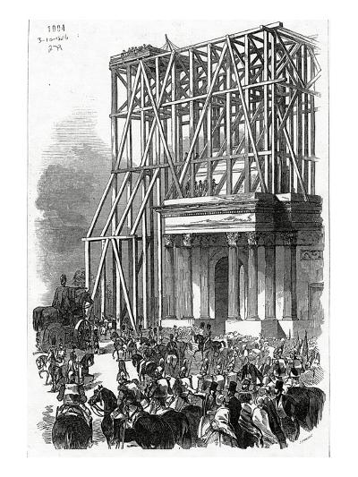 Arrival of the Wellington Statue at the Arch, Published in 'The Illustrated London News'-Ebenezer Landells-Giclee Print