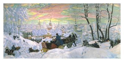 Arriving for Shrove Tide, 1916-Boris Kustodiyev-Art Print