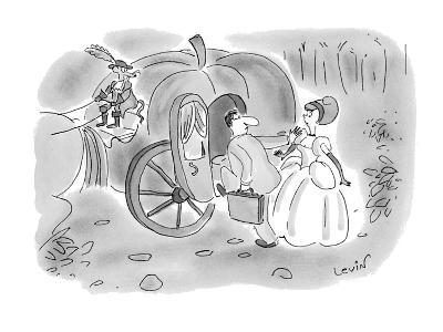 Arrogant businessman pushes aside Cinderella and climbs into her pumpkin c? - New Yorker Cartoon-Arnie Levin-Premium Giclee Print