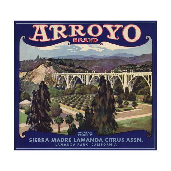 Arroyo Brand - Lamanda Park, California - Citrus Crate Label-Lantern Press-Art Print