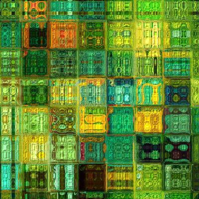 Art Abstract Vibrant Geometric Pattern, Background In Green, Gold And Blue Colors-Irina QQQ-Art Print